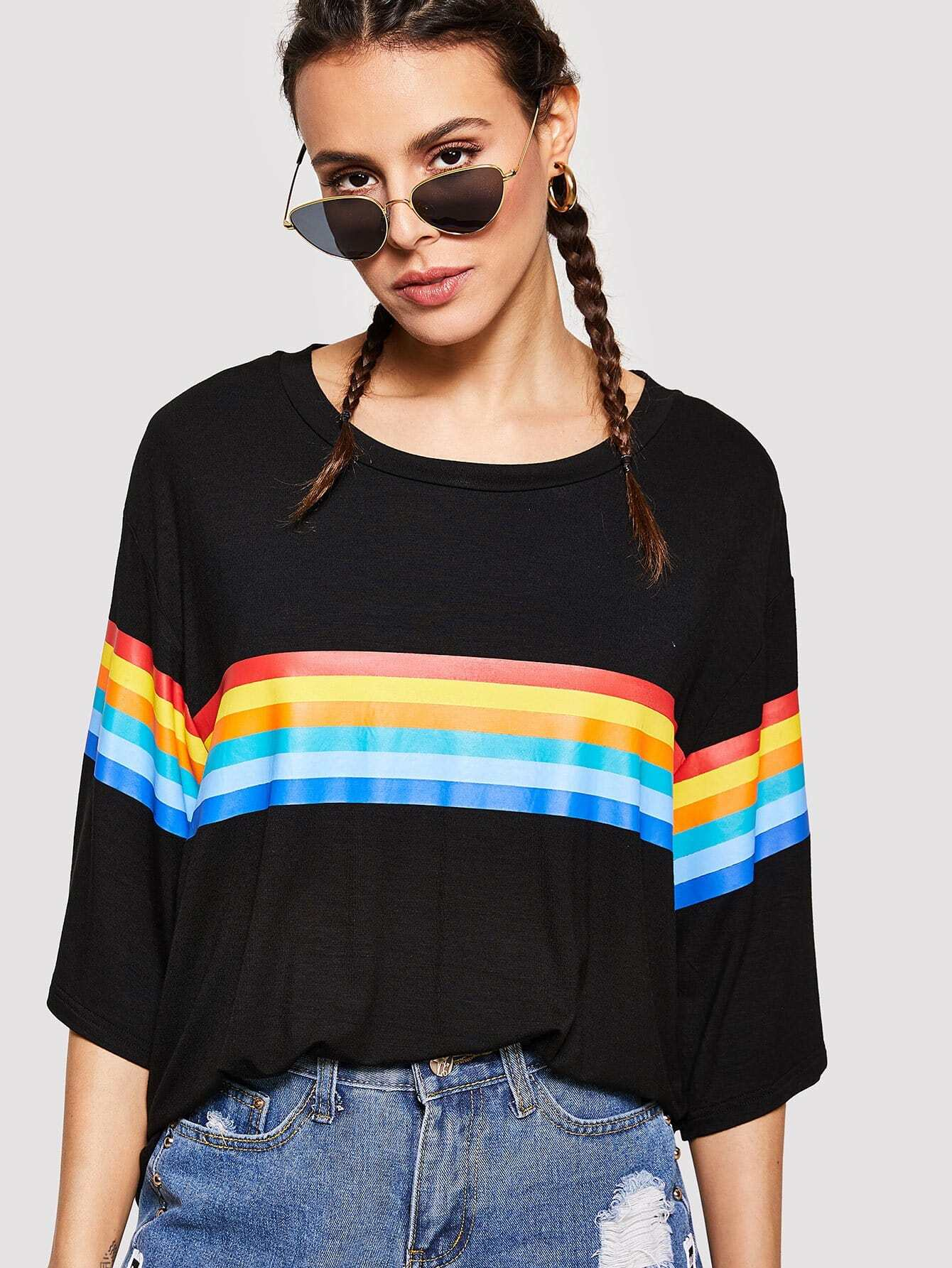 Drop Shoulder Rainbow Stripe Boxy Tee two tone drop shoulder sweatshirt