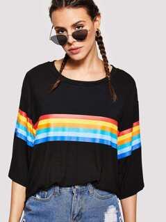 Drop Shoulder Rainbow Stripe Boxy Tee
