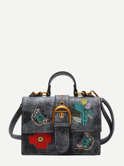 Floral & Butterfly Embroidered Crossbody Bag