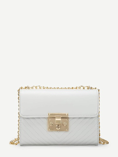 Chevron Detail Flap Chain Shoulder Bag