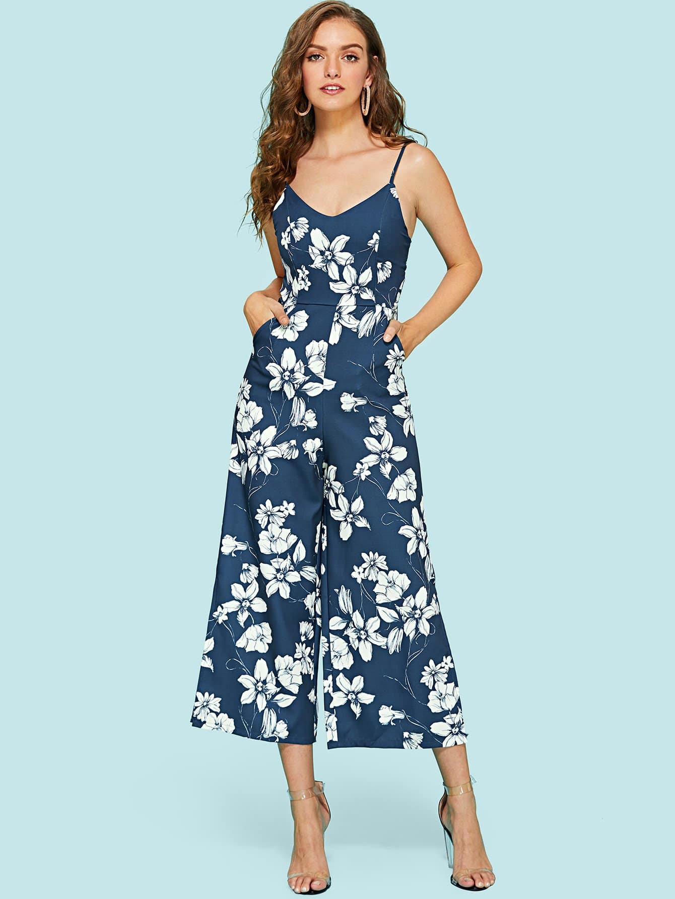 Floral Print Wide Leg Cami Jumpsuit tropical print wide leg cami jumpsuit