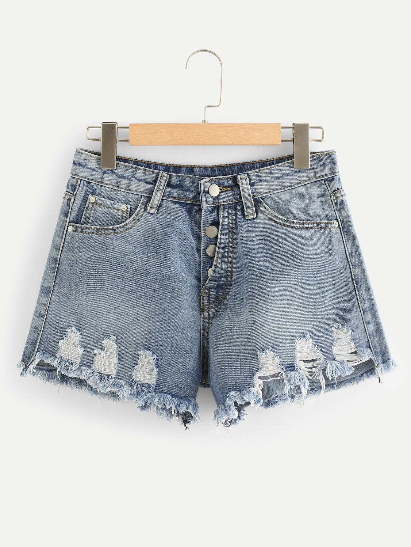 Bleach Wash Raw Hem Denim Shorts lace up raw hem bleach wash hot pants
