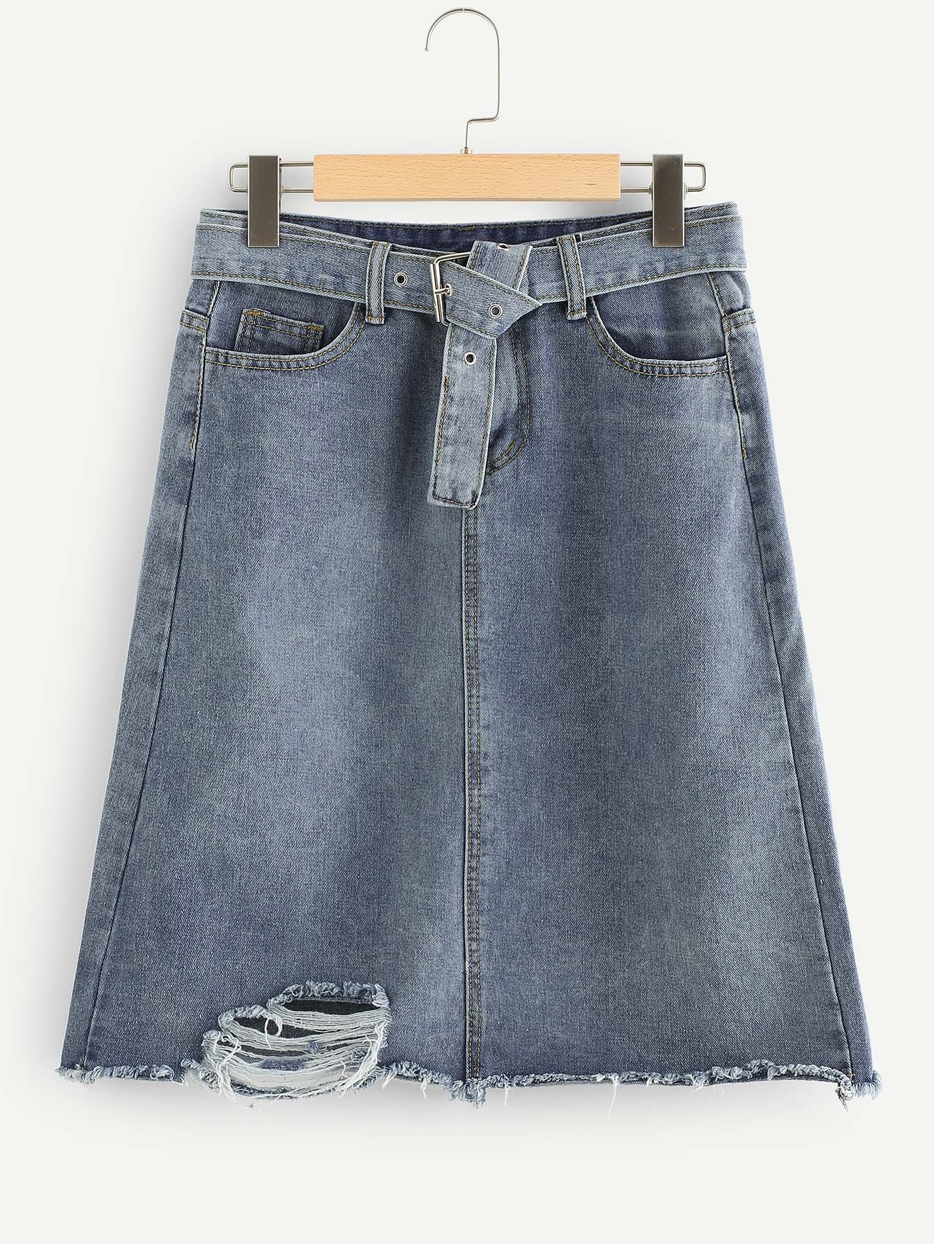 Bleach Wash Raw Hem Denim Skirt With Belt lace up raw hem bleach wash hot pants