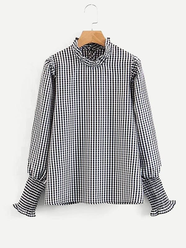 Frill Trim Gingham Blouse frill trim tee