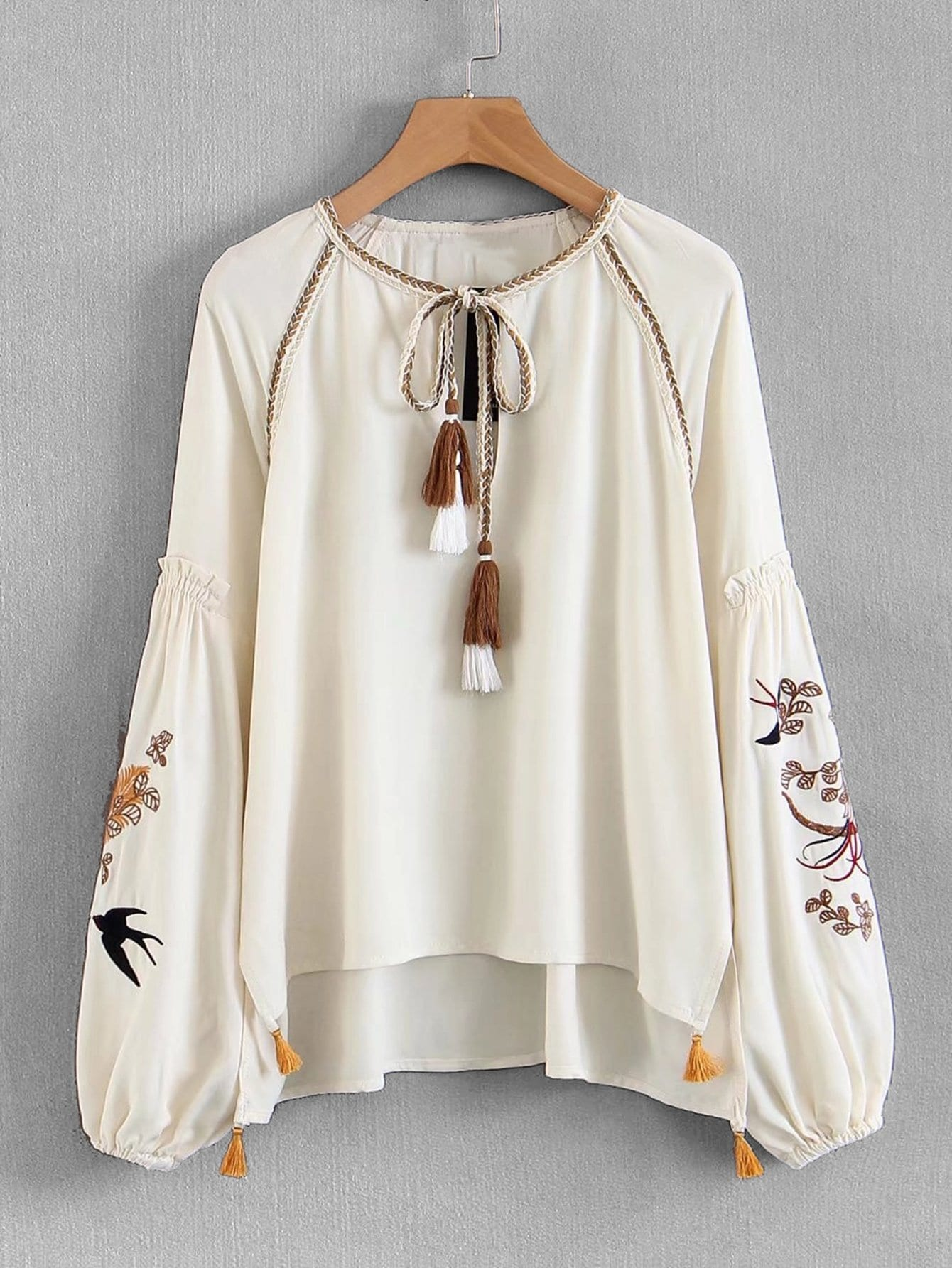 Tassel Tie Embroidery High Low Blouse pinstriped open shoulder tie detail embroidery blouse