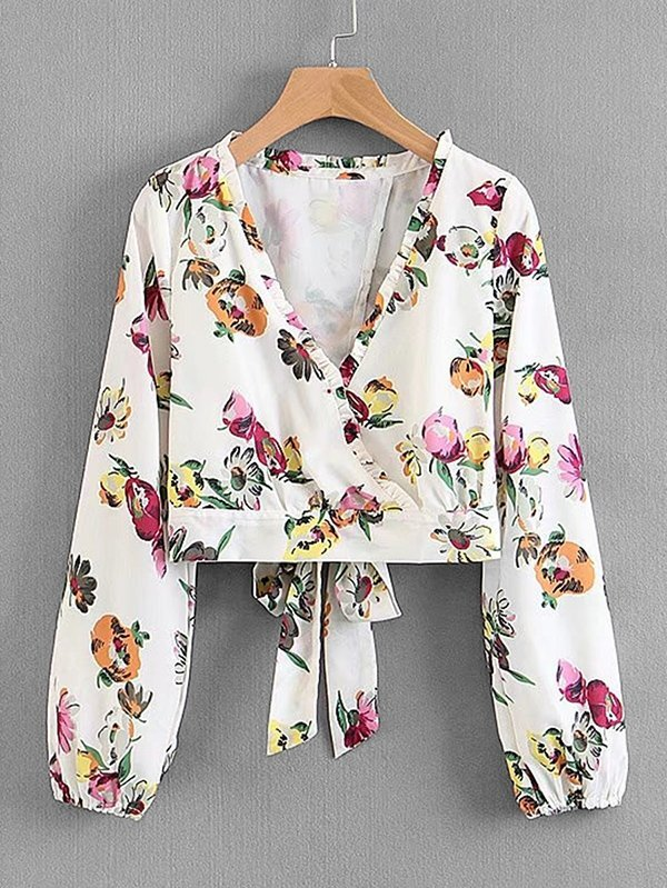 Frill Trim Overlap Back Florals Top allover florals bow tie detail frill top with shorts