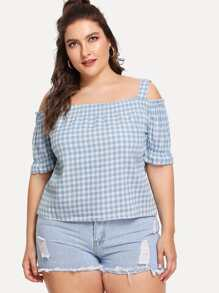 Shirred Detail Gingham Top