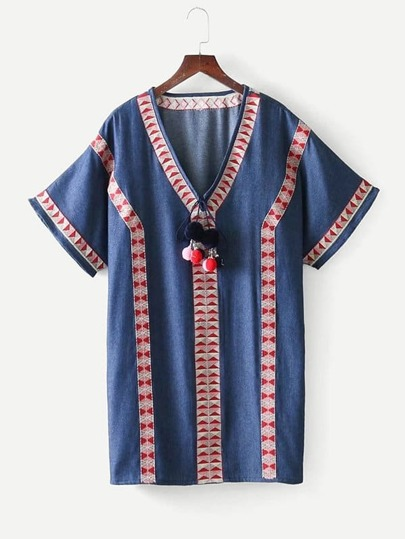 Geo Embroidered Pom Pom Denim Dress