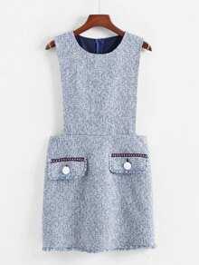 Flap Detail Tweed Dress