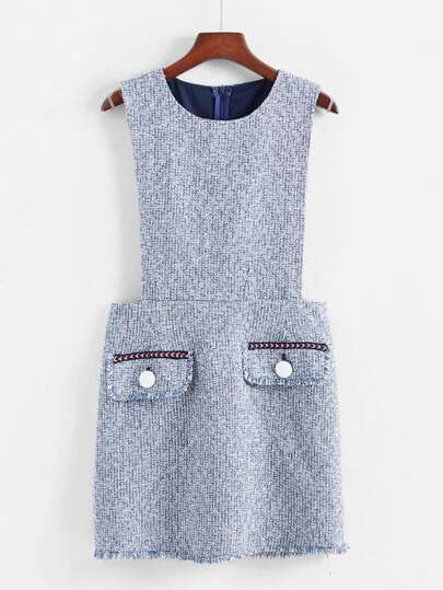 Flap Detail Tweed Dress