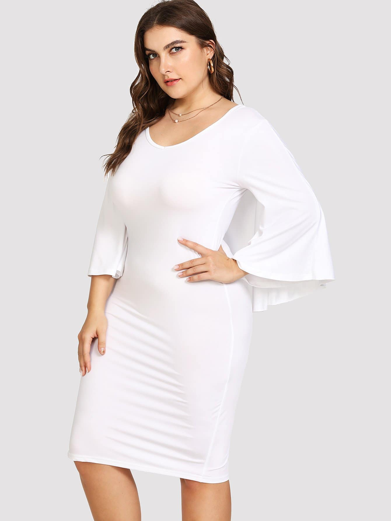 Plus Cape Overlay Cut Out Dress
