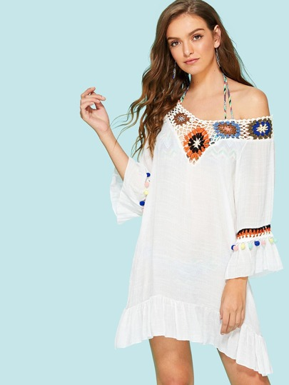 Hollow Out Crochet Panel Pom Pom Cover Up