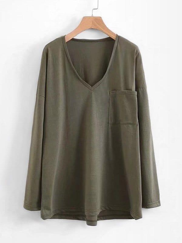 V Neckline Drop Shoulder Tee v neckline drop shoulder lantern sleeve sweatshirt