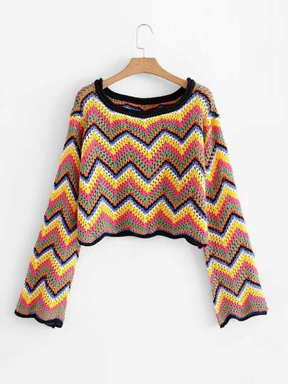 Open-Knit Chevron Crop Jumper