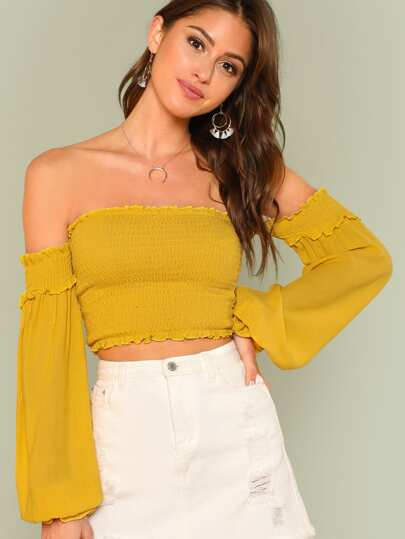 Bishop Sleeve Crop Smock Top