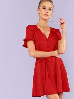 Self Tie Waist Flounce Sleeve Button Up Dress