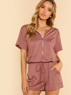 Half Zipper Placket Drawstring Romper