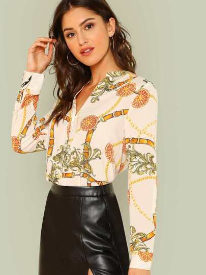 Printed Long Sleeve Button Up Shirt