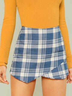 Plaid Overlap Skort