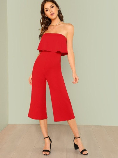 Strapless Ruffle Wide Leg Jumpsuit