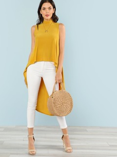 Mock Neck High Low Top