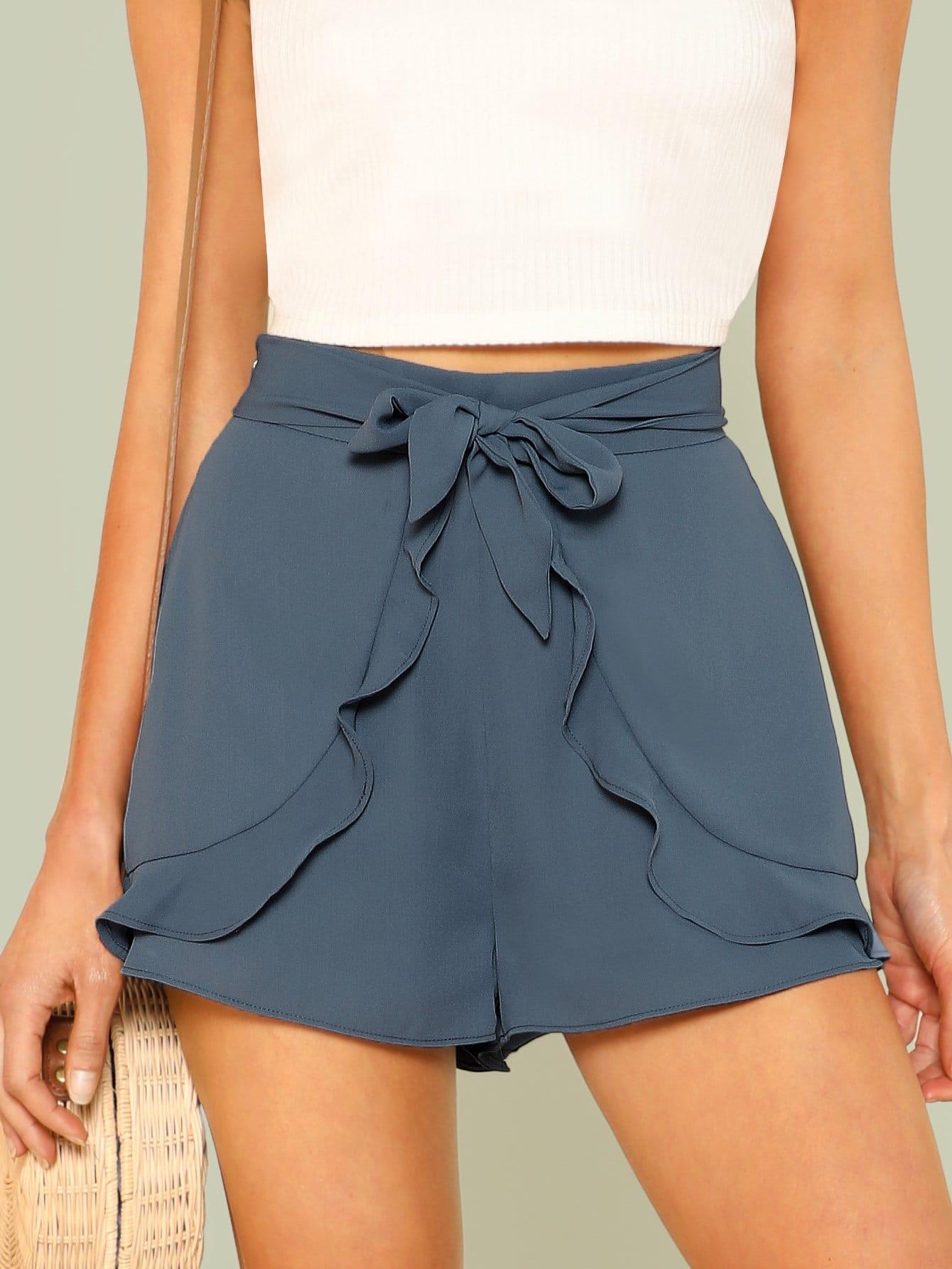 Ruffle Trim Self Belted Shorts ruffle waist belted peg pants