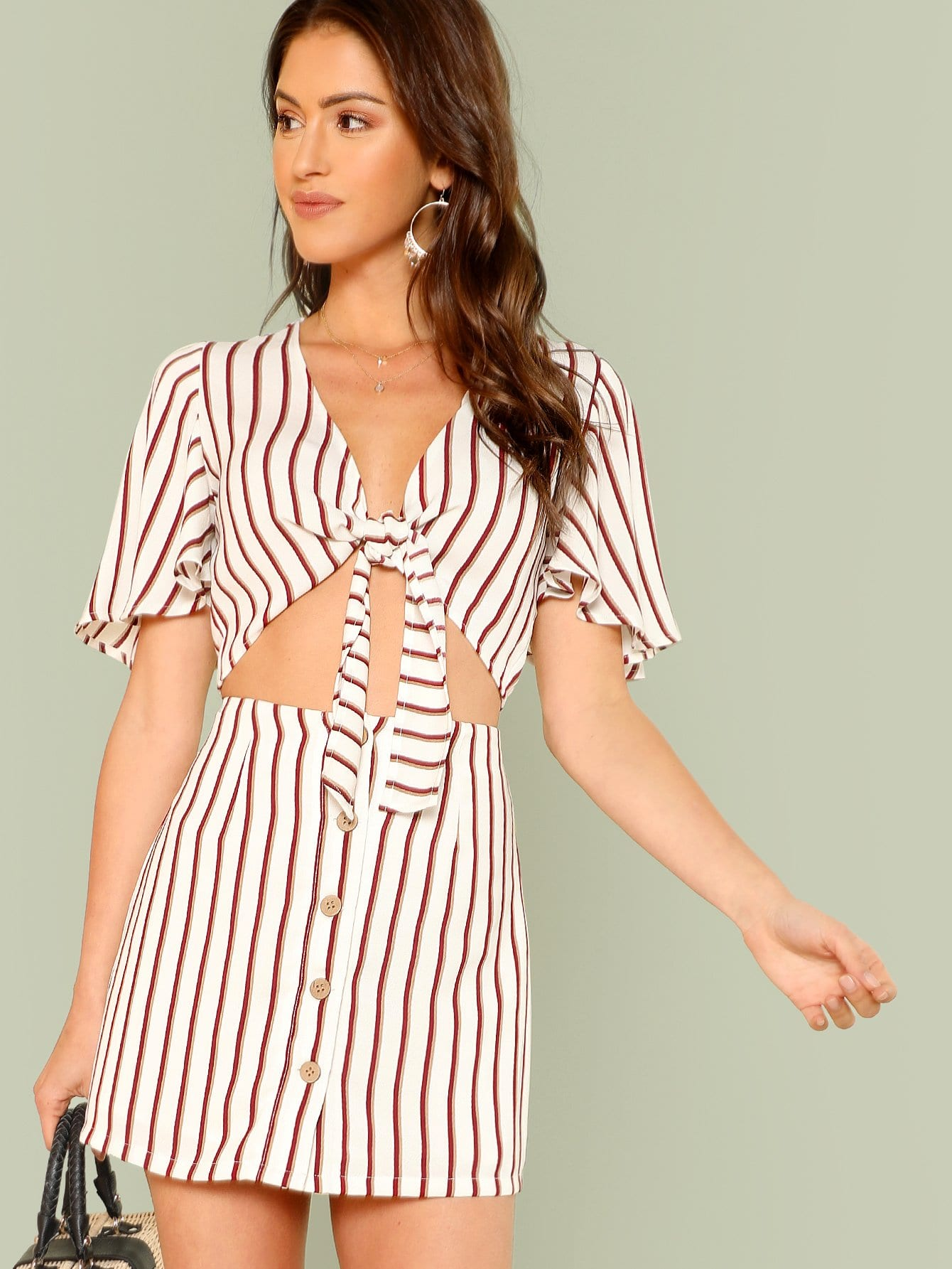 Knot Front Flutter Sleeve Crop Top & Skirt Set flutter sleeve twist front top and wide waist shorts set