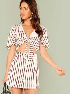 Knot Front Flutter Sleeve Crop Top & Skirt Set