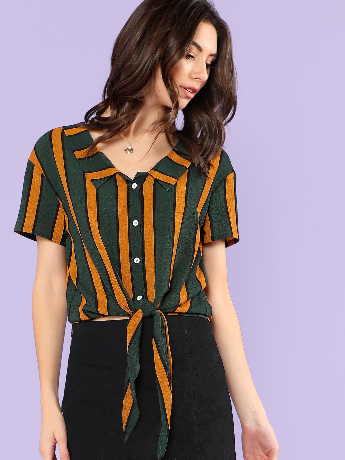 Vertical Stripe Knot Hem Shirt stepped hem mixed stripe shirt