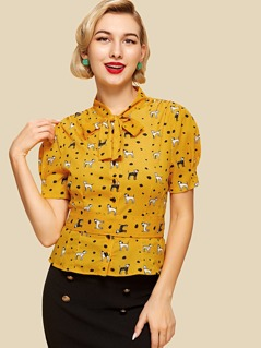 Allover Dog Print Tied Neck Blouse
