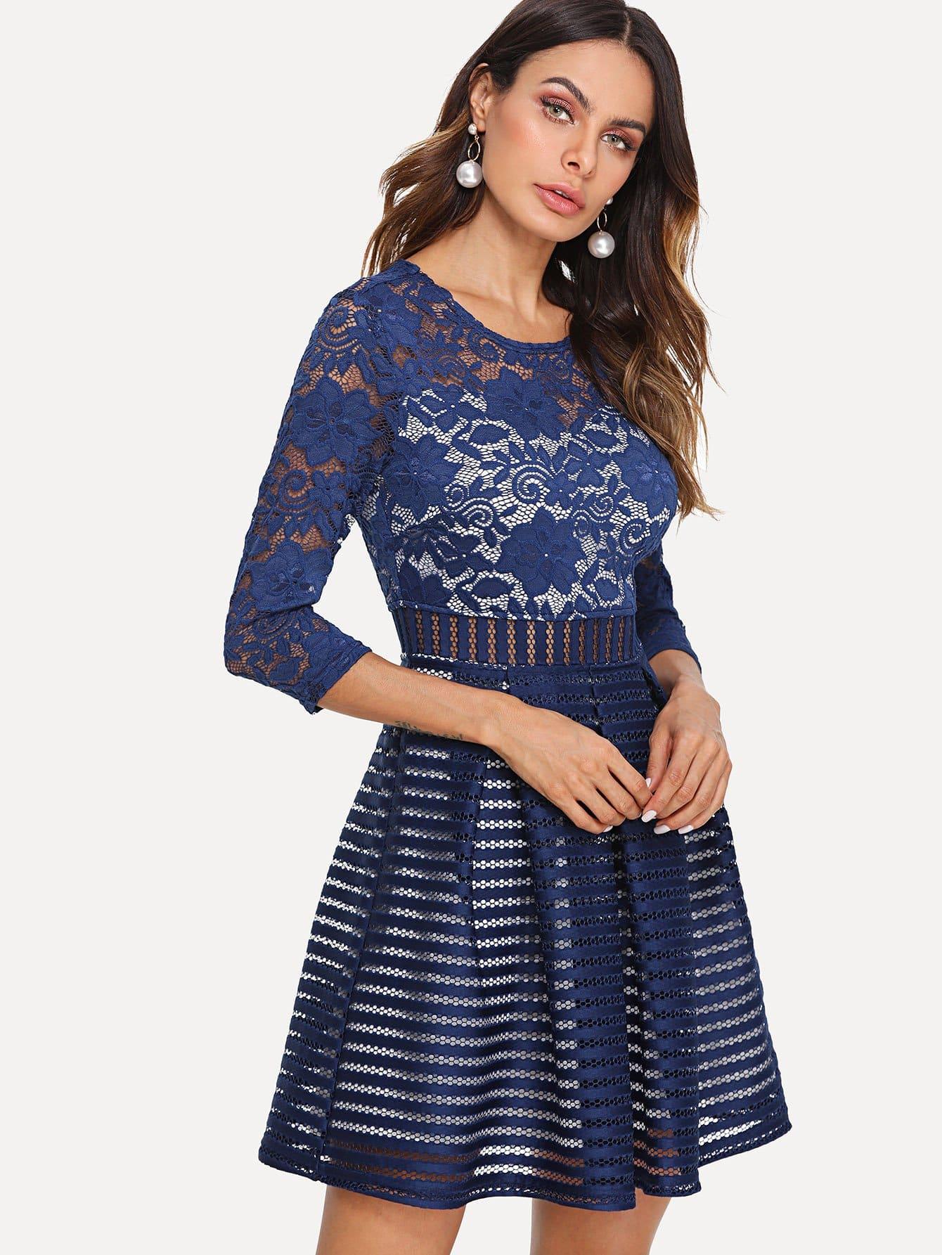 Box Pleated Lace & Mesh Skater Dress contrast mesh box pleated plain dress