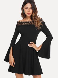 Lace Applique Flounce Sleeve Bardot Dress