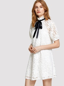 Bishop Sleeve Frill Tied Neck Floral Lace Dress