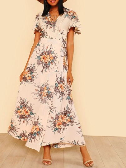 Tie Waist Wrap Floral Maxi Dress