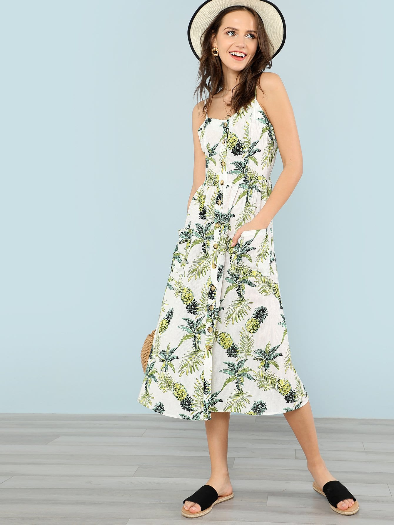 Allover Pineapple Print Button Up Cami Dress pineapple print smock cami dress
