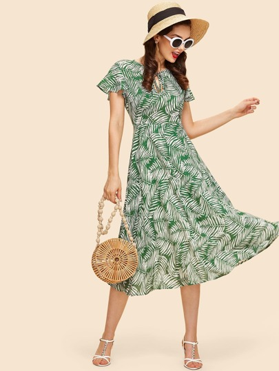 Keyhole Knot Front Fit & Flare Tropical Dress