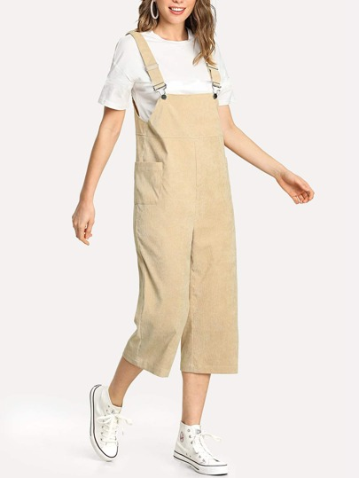Pocket Side Ribbed Velvet Overalls