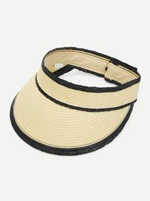 Constrast Trim Straw Visor Hat