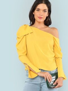 Bow Tied Asymmetrical Sleeve Blouse