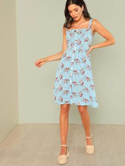 Flower Print Button Up Dress