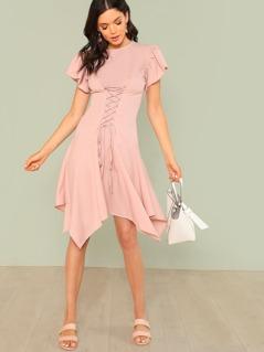 Lace Up Front Zip Back Dress