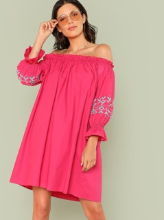 Flounce Cuff Off Shoulder Tunic Dress