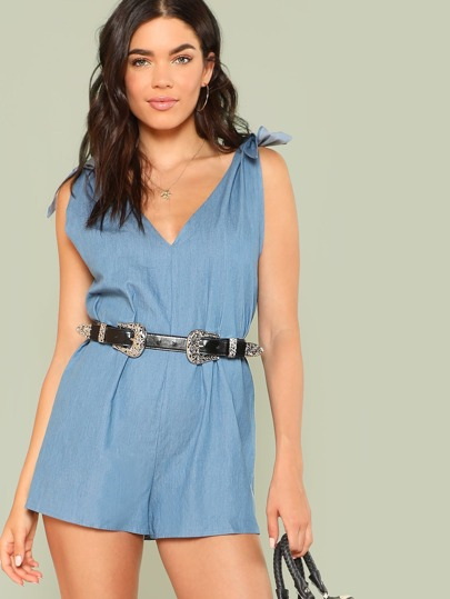 Self Tie Shoulder V Back Denim Romper