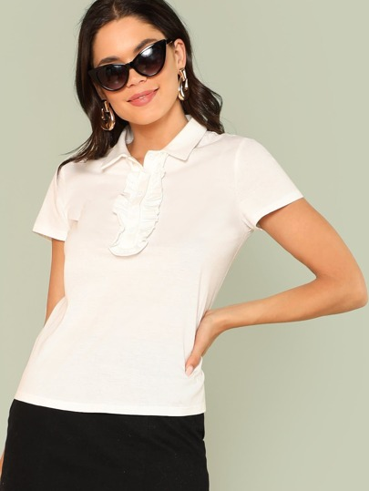 Button Detail Solid Ruffle T-Shirt