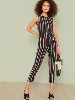 Vertical Striped Crop Top & Pants Set
