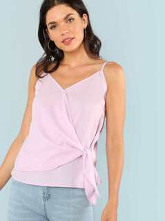 Knot Front V Neck Wrap Cami Top