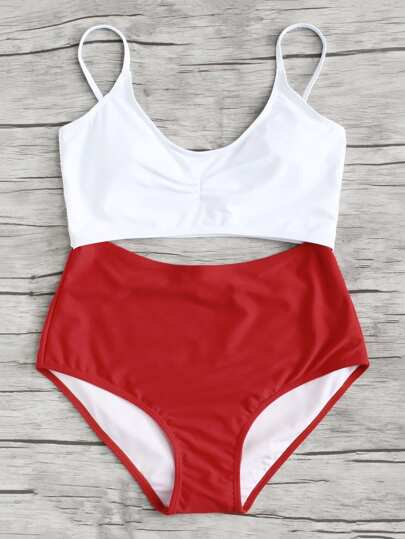 Two Tone Cutout Swimsuit