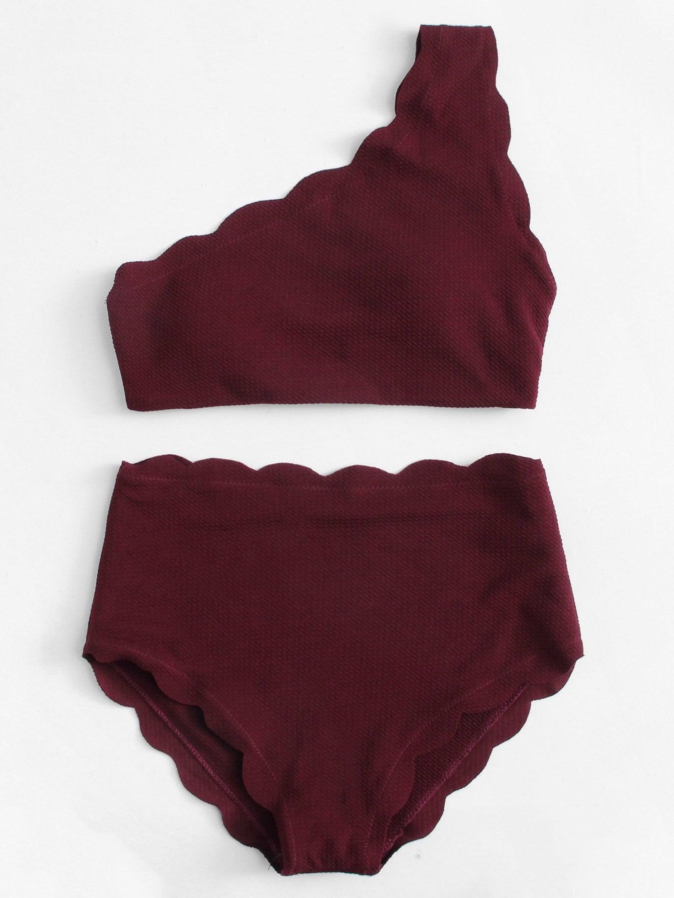 Scalloped Trim One Shoulder Bikini Set scalloped trim bandeau bikini set