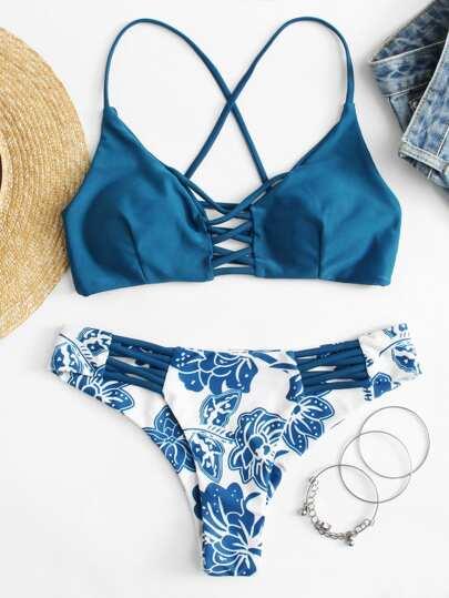 Ladder Cutout Top Floral Pattern Bikini Set