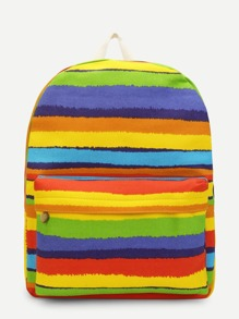 Rainbow Printed Striped Backpack